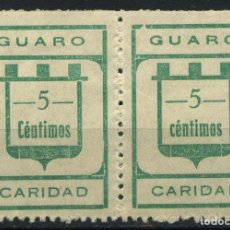 Sellos: ESPAÑA. GUERRA CIVIL. GUARO (MÁLAGA). EDIFIL 3A. PAREJA -C- + -C-. Lote 262366280