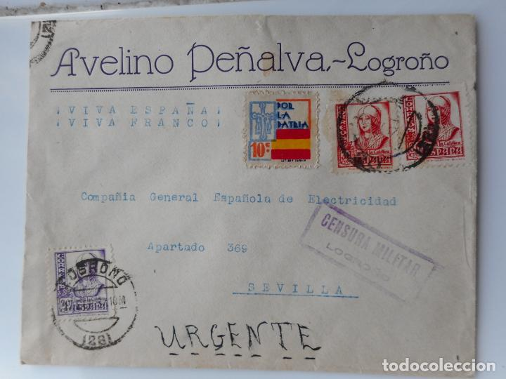 SOBRE CENSURA MILITAR.AVELINO PEÑALVA.LOGROÑO 1937.GUERRA CIVIL (Sellos - España - Guerra Civil - Locales - Cartas)