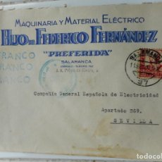 Sellos: SOBRE CENSURA MILITAR.HIJO FEDERICO FERNANDEZ.MAQUINARIA.PREFERIDA.SALAMANCA 1937.GUERRA CIVIL. Lote 262821850