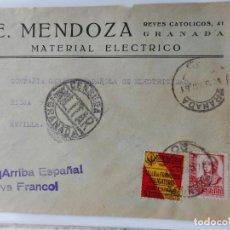 Sellos: SOBRE CENSURA MILITAR. E.MENDOZA.MATERIAL ELECTRICO.ILUMINACION.GRANADA 1937.GUERRA CIVIL. Lote 262821965