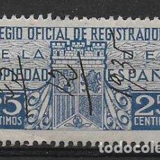 Sellos: COLEGIO OFC. REGISTRADORES, 25 CTS. VER FOTO. Lote 262848095
