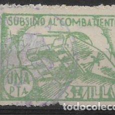 Sellos: SEVILLA, 1 PTA, SUBSIDIO AL COMBATIENTE.- SERIE Q.- 3 - VER FOTO. Lote 262854700