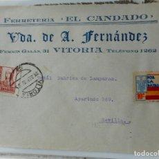 Sellos: SOBRE CENSURA MILITAR.VDA.DE A.FERNANDEDEZ.FERRETERIA EL CANDADO.VITORIA.1937.GUERRA CIVIL. Lote 262878010