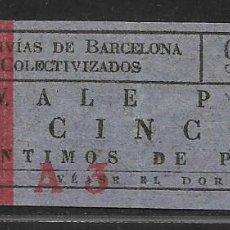 Sellos: BARCELONA, VALE 5 CTS.- TRANVIAS COLECTIVIZADOS.- Nº CAPICUA- VER FOTOS. Lote 262965090