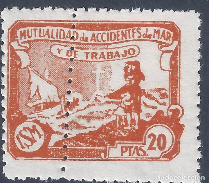 MUTUALIDAD DE ACCIDENTES DE MAR Y DE TRABAJO (VARIEDAD...DENTADO). LUJO. MNH ** (Sellos - España - Guerra Civil - Beneficencia)
