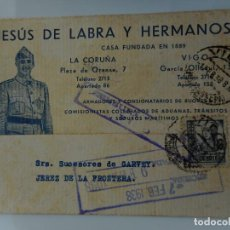 Sellos: ANTIGUA TARJETA.JESUS DE LABRA HERMANOS.ARMADORES.BUQUES.VIGO.CENSURA MILITAR.GUERRA CIVIL 1938. Lote 263072840