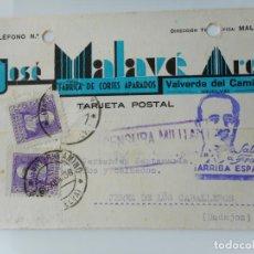 Sellos: TARJETA.JOSE MALAVE ARCA.FABRICA.VALVERDE DEL CAMINO.CENSURA MILITAR.GUERRA CIVIL 1938. Lote 263080140