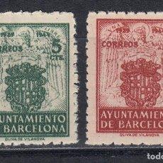 Sellos: BARCELONA EDIFIL 57 Y 58* NUEVOS CON CHARNELA. ESCUDOS. AÑO 1944 (720). Lote 263129920