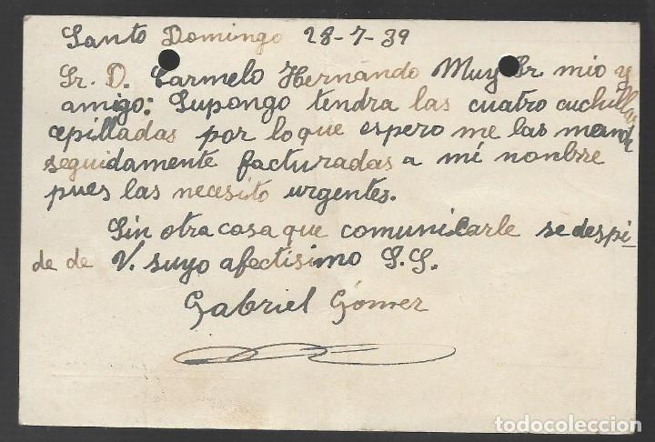 Sellos: POSTAL PATRIOTICA, CIRCULADA DE SANTO DOMINGO A HARO,- C.M. SANTO DOMINGO. VER FOTOS - Foto 2 - 263579745