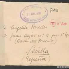 Sellos: CARTA Y SOBRE CIRCULADO DE BUENOS AIRES A SEVILLA.- C.M. AYAMONTE- R.M.S. -ASTURIAS- POSTE ON THE HI. Lote 263584300