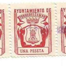 Sellos: AYUNTAMIENTO DE TORREDELCAMPO, JAÉN. UNA PESETA BLOQUE 3. Lote 264188852