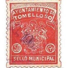 Sellos: AYUNTAMIENTO DE TOMELLOSO 50 CTS. SELLO MUNICIPAL. Lote 264189060