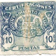 Sellos: CERTIFICACIONES. AYUNTAMIENTO DE LUGO. 10 PESETAS. Lote 264189132