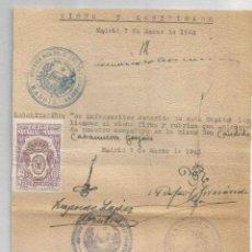 Francobolli: DOCUMENTO. COLEGIO NOTARIAL DE MADRID 2 PTS. LEGALIZACIONES 1942. Lote 264295160