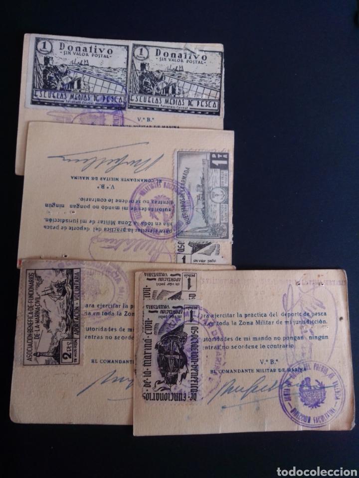 LOTE DE 4 CARNETS DE PESCA CON VIÑETAS. AÑO 1959. (Sellos - España - Guerra Civil - Viñetas - Usados)
