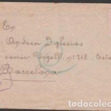 Timbres: C3-5-7 GUERRA CIVIL - CARTA CIRCULADA EL 12 JUN 1938 DESDE EL FRENTE A BARCELONA CON MARCA -SOM I. Lote 265132864