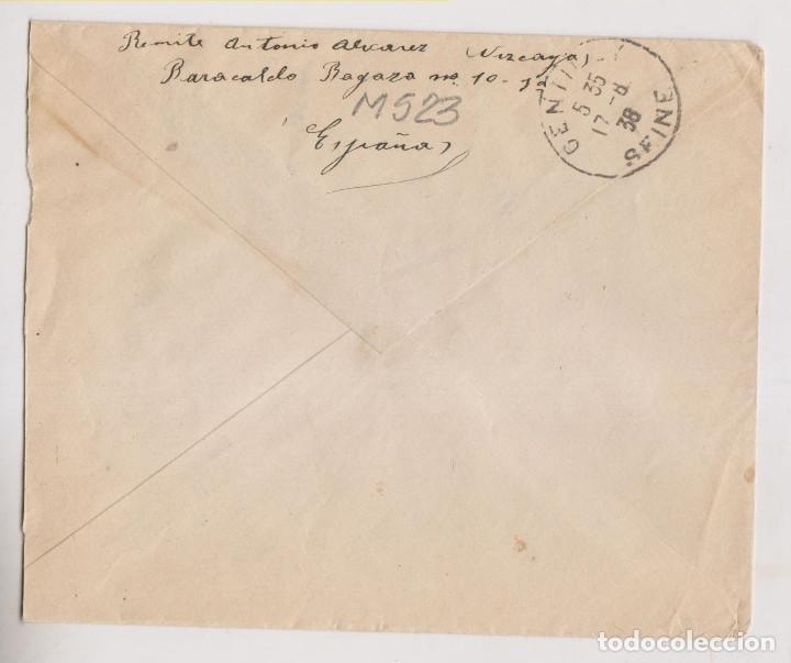 Sellos: RARO SOBRE. BARACALDO, VIZCAYA. 1938. A FRANCIA. CENSURA MILITAR Y MARCA COMANDANCIA MILITAR - Foto 2 - 265377329