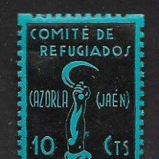 Sellos: CAZORLA-JAEN- 10 CTS, COMITE DE REFUGIADOS, VER FOTO. Lote 265689204