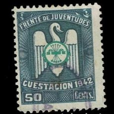 Selos: 0227 GUERRA CIVIL - FRENTE DE JUVENTUDES CUESTACION 1942- VALOR 50 CENTS - COLOR AZUL Y VERDE USADO. Lote 265714314