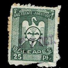 Selos: 0227 GUERRA CIVIL BALEARES PRO FRENTE DE JUVENTUDES VALOR 25 PTS COLOR VERDE USADO, CORTECITO AL MAR. Lote 265715759