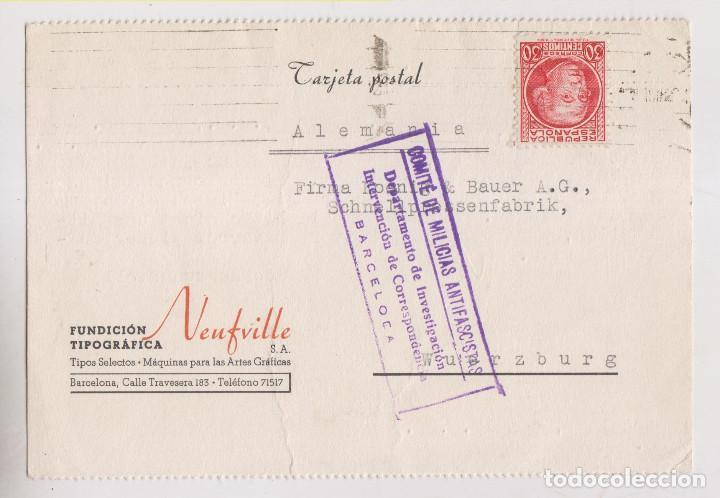 TARJETA. BARCELONA A ALEMANIA. 1936. SELLO JOVELLANOS. CENSURA MILITAR COMITÉ MILICIAS ANTIFASCISTAS (Sellos - España - Guerra Civil - De 1.936 a 1.939 - Cartas)
