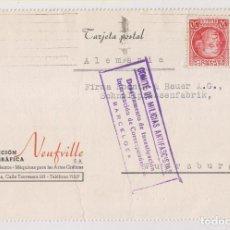 Sellos: TARJETA. BARCELONA A ALEMANIA. 1936. SELLO JOVELLANOS. CENSURA MILITAR COMITÉ MILICIAS ANTIFASCISTAS. Lote 266394203