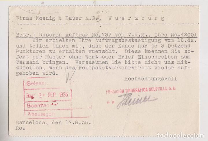 Sellos: TARJETA. BARCELONA A ALEMANIA. 1936. SELLO JOVELLANOS. CENSURA MILITAR COMITÉ MILICIAS ANTIFASCISTAS - Foto 2 - 266394203