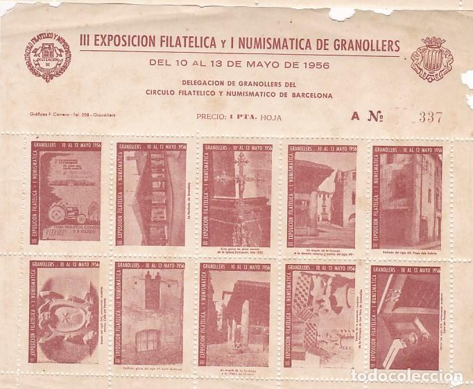 GP24- HOJA BLOQUE 10 VIÑETAS EXPO FILATÉLICA GRANOLLERS 1956 (Sellos - España - Guerra Civil - Viñetas - Nuevos)