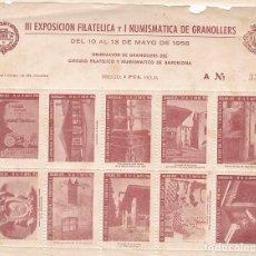 Timbres: GP24- HOJA BLOQUE 10 VIÑETAS EXPO FILATÉLICA GRANOLLERS 1956. Lote 266397678