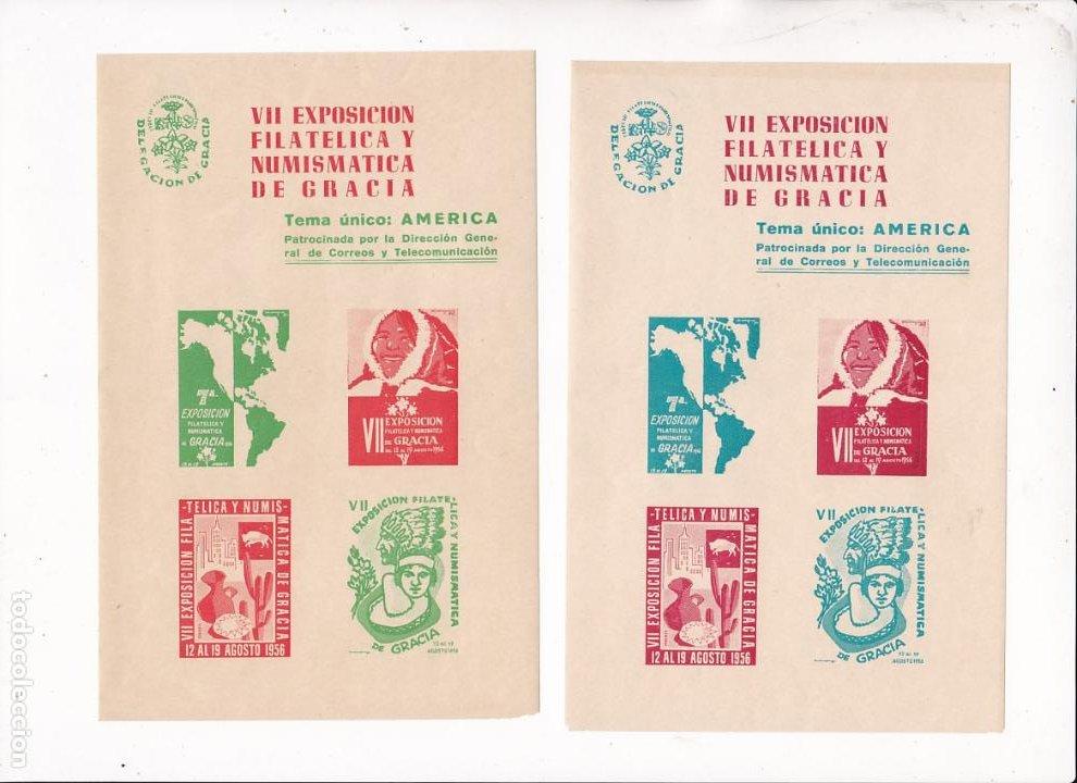 GP24- 2 HOJAS BLOQUE 4 VIÑETAS SIN DENTAR EXPO FILATÉLICA GRACIA 1956. TEMA AMERICA ** SIN FIJASELL (Sellos - España - Guerra Civil - Viñetas - Nuevos)