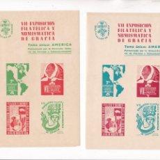 Timbres: GP24- 2 HOJAS BLOQUE 4 VIÑETAS SIN DENTAR EXPO FILATÉLICA GRACIA 1956. TEMA AMERICA ** SIN FIJASELL. Lote 266397953