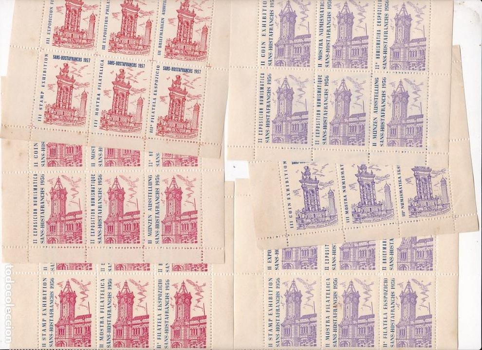 GP25- 13 HOJAS BLOQUE 6 VIÑETAS EXPO FILATÉLICA HOSTAFRANCHS 1956. DIFERENTES TIPOS** SIN FIJASELL (Sellos - España - Guerra Civil - Viñetas - Nuevos)