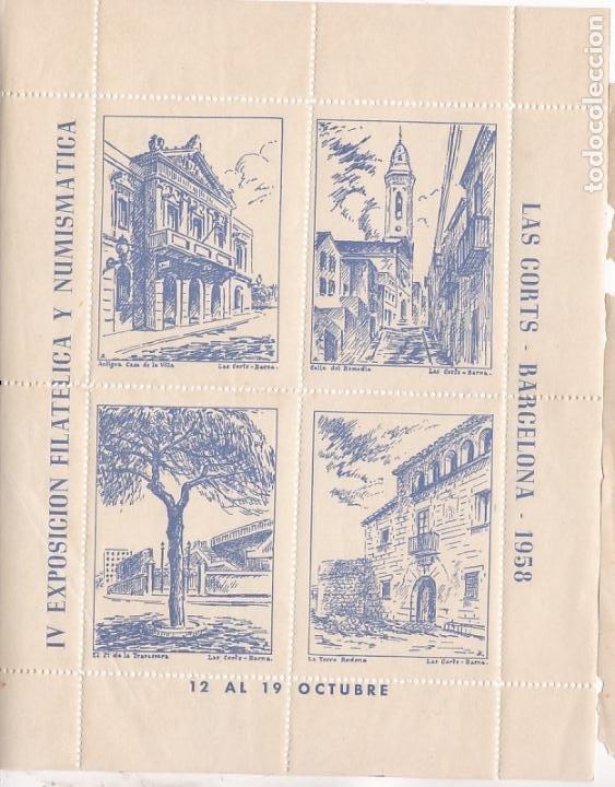 GP26- 3 HOJAS BLOQUE 4 VIÑETAS EXPO FILATÉLICA LAS CORTS 1958. DIFERENTE COLOR ** SIN FIJASELLOS (Sellos - España - Guerra Civil - Viñetas - Nuevos)