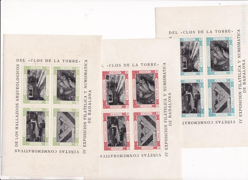 GP26- 3 HOJAS BLOQUE 4 VIÑETAS EXPO FILATÉLICA BADALONA 1956 HALLAZGOS ARQUEOLÓGICOS ** SIN FIJASELL (Sellos - España - Guerra Civil - Viñetas - Nuevos)