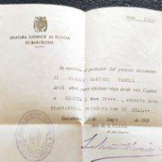 Timbres: GUERRA CIVIL SALVOCONDUCTO CON VIÑETA SUBSIDIO AL COMBATIENTE 1 PTA GERONA Y PROV BARCELONA 1939. Lote 267233184