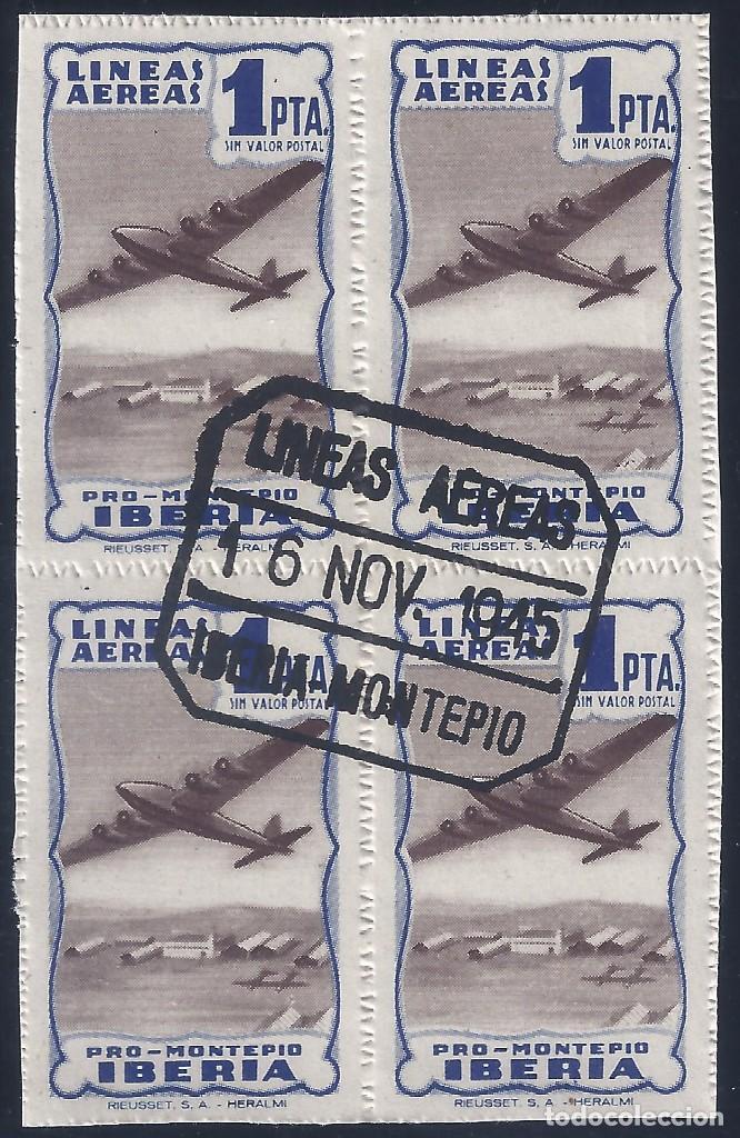 IBERIA PRO MONTEPÍO. 1 PTA. COLOR AZUL (BLOQUE DE 4). MATASELLOS LÍNEAS AÉREAS (16-11-1945). (Sellos - España - Guerra Civil - Beneficencia)