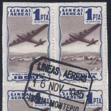 Sellos: IBERIA PRO MONTEPÍO. 1 PTA. COLOR AZUL (BLOQUE DE 4). MATASELLOS LÍNEAS AÉREAS (16-11-1945).. Lote 267526654