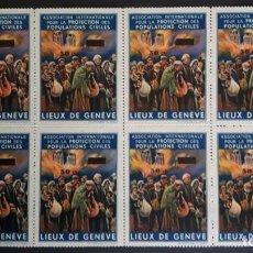 Sellos: SELLOS GUERRA CIVIL. LUJO BLQ 8 LIEUX DE GENÈVE, 50C SOBRE 3D.. Lote 267569474