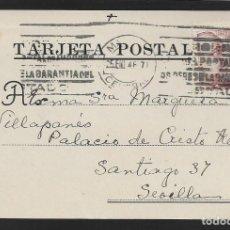 Sellos: POSTAL CIRCULADA AL PALACO DE CRISTO REY, MARQUESES VILLAPANES.-VARIEDAD DE ESCUDO Y TIPOGRAFIA,VER. Lote 267676714