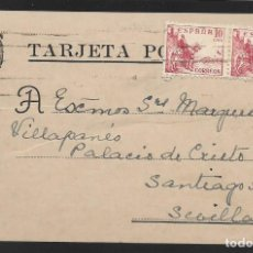 Sellos: POSTAL CIRCULADA AL PALACO DE CRISTO REY, MARQUESES VILLAPANES.-VARIEDAD DE ESCUDO Y TIPOGRAFIA,VER. Lote 267676814