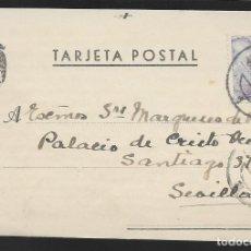 Sellos: POSTAL CIRCULADA AL PALACO DE CRISTO REY, MARQUESES VILLAPANES.-VARIEDAD DE ESCUDO Y TIPOGRAFIA,VER. Lote 267676984