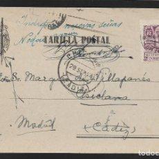 Sellos: POSTAL CIRCULADA AL PALACO DE CRISTO REY, MARQUESES VILLAPANES.-VARIEDAD DE ESCUDO Y TIPOGRAFIA,VER. Lote 267677489