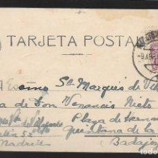 Sellos: POSTAL CIRCULADA AL PALACO DE CRISTO REY, MARQUESES VILLAPANES.-VARIEDAD DE ESCUDO Y TIPOGRAFIA,VER. Lote 267677524
