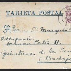 Sellos: POSTAL CIRCULADA AL PALACO DE CRISTO REY, MARQUESES VILLAPANES.-VARIEDAD DE ESCUDO Y TIPOGRAFIA,VER. Lote 267677619