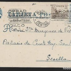Sellos: POSTAL CIRCULADA AL PALACO DE CRISTO REY, MARQUESES VILLAPANES.-VARIEDAD DE ESCUDO Y TIPOGRAFIA,VER. Lote 267677864