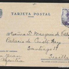 Sellos: POSTAL CIRCULADA AL PALACO DE CRISTO REY, MARQUESES VILLAPANES.-VARIEDAD DE ESCUDO Y TIPOGRAFIA,VER. Lote 267677909