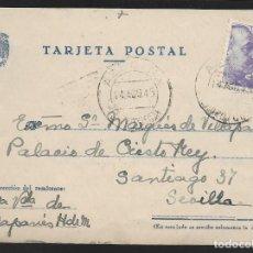 Sellos: POSTAL CIRCULADA AL PALACO DE CRISTO REY, MARQUESES VILLAPANES.-VARIEDAD DE ESCUDO Y TIPOGRAFIA,VER. Lote 267677954