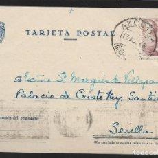 Sellos: POSTAL CIRCULADA AL PALACO DE CRISTO REY, MARQUESES VILLAPANES.-VARIEDAD DE ESCUDO Y TIPOGRAFIA,VER. Lote 267678004