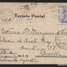 Sellos: POSTAL CIRCULADA AL PALACO DE CRISTO REY, MARQUESES VILLAPANES.-VARIEDAD DE ESCUDO Y TIPOGRAFIA,VER. Lote 267678069