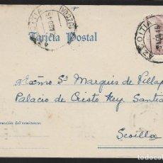 Sellos: POSTAL CIRCULADA AL PALACO DE CRISTO REY, MARQUESES VILLAPANES.-VARIEDAD DE ESCUDO Y TIPOGRAFIA,VER. Lote 267678559